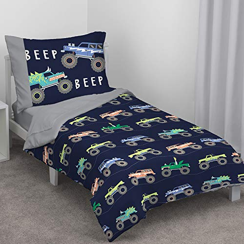 Carter's Monster Truck 4 Piece Toddler Bed Set, Navy and Grey (Boys Toddler Bedding Set Truck)