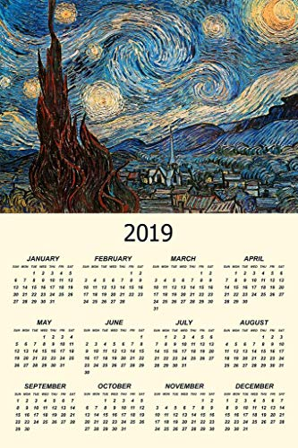 The Starry Night 1889 by Vincent Van Gogh Art Print Mural Giant Poster 2019 Calendar 54x36 inch (Canvas Arles)