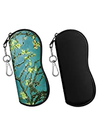 MoKo Sunglasses Soft Case 2 Pack, Ultra Light Portable Neoprene Zipper Glasses Soft Case, Eyeglass Safety Pouch Zipper Box Case with Belt Clip, Almond Blossom