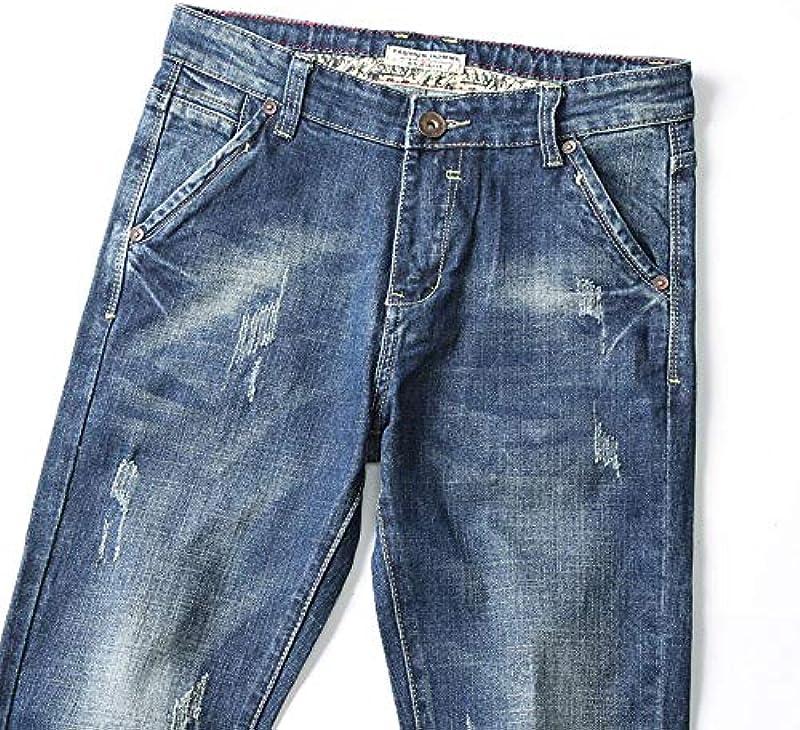 YANGPP Męskie Jeans Blau Herbst Und Winter Jeans Slim Straight Fit Jeans Męskie Cowboys, Blau, 34: Sport & Freizeit