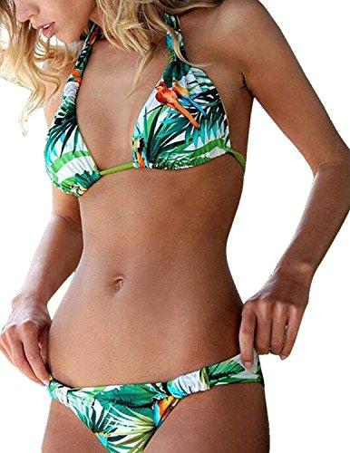 BYD Mujeres Bikinis Conjuntos Fantasía Push-Up Triángulo Bañador Coloridos Cuello Halter Deja la Impresión Ropa de baño 2pcs Tops + Shorts triángulo