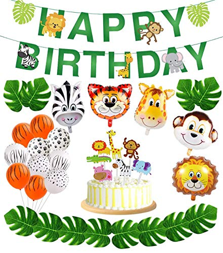 56pcs Jungle Safari Party Supplies,Jungle Animal Decorations, Safari Zoo Animals Happy Birthday Banner, Animal Balloons and Animal Cake Toppers for Jungle Safari Zoo Theme Birthday Party Decorations.