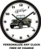 WILLYS WWII JEEP WALL CLOCK-PERSONALIZED FREE!-Free USA Ship!
