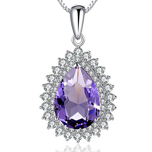 PLATO H Crystal Necklace Teardrop Crystal Necklace Water Drop Pendant Neckalce Woman Fashion Necklace With Swarovski Crystal Gift For Her, purple