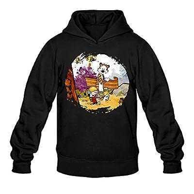 DVPHQ Men's Superior Calvin And Hobbes Hooded Sweatshirt Black