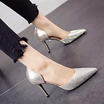 f8c1e282a FLYRCX Sexy sequins lady high heels spring summer sexy tip fine with Party  shoe work shoes
