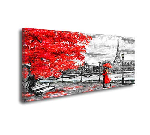 Romantic Oil Paintings - youkuart Canvas Wall Art Black White Red Umbrella Couple in Street Eiffel Tower Oil Painting Printed on Canvas Romantic Picture Framed Artwork Prints Walls Decor(24inchx48inch)