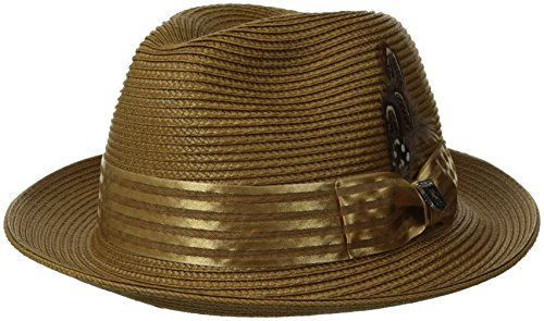 Satin Bow Fedora (Stacy Adams Men's Striped Satin Band Fedora, Tea, Medium)