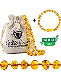 Baltic Amber Necklace and Bracelet Gift Set (Unisex Honey) - Certified Raw Baltic Amber