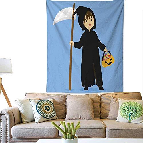 BlountDecor Horizontal Tapestry Halloween Grim Reaper Costume Vector 40W x 60L -