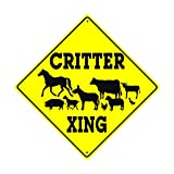Critter Animals Crossing Xing Caution Danger Hunter Safety Funny Novelty Road Wall Décor Diamond Metal Aluminum 12'x12' Sign