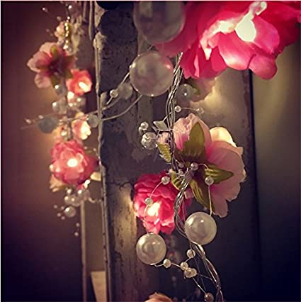 Amazon fanstek 20 led fairy red white flowers pearls battery fanstek 20 led fairy red white flowers pearls battery operated string lights led decoration for christmas mightylinksfo