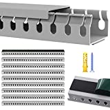 Open Slot Cable Raceway Kit, On Wall Wiring Cable Management System with Cover to Hide TV Computer Cables Cords Wires, Under Desk Cable Concealer for Home Office, Grey