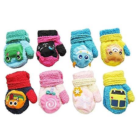 Cosanter Kinder Baby Handschuhe F/äustlinge aus Pl/üsch Sch/ön Kinder M/ädchen Junge Blatt Winter-warmen Handschuhe Rosa