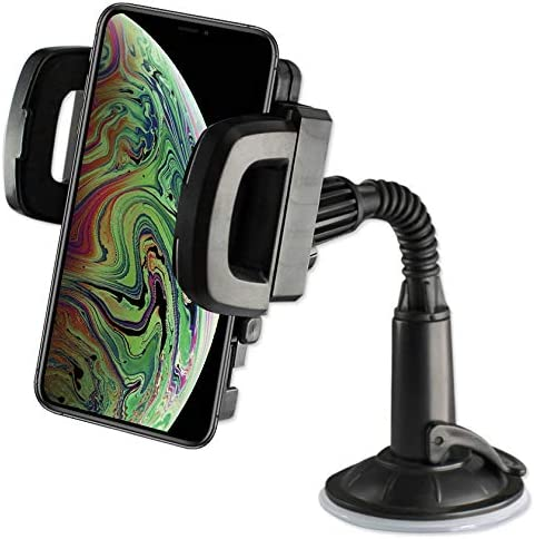 Nokia Samsung LG Google Huawei Moto Smartphones Reiko Universal Suction Winder Glass Car Phone Holder in Black with Vent Mount Holder Compatible with iPhone