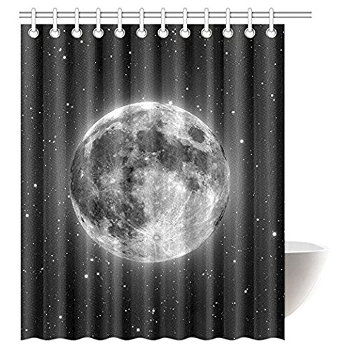 "InterestPrint Black Moon Astronomy Space Waterproof Polyester Fabric 60""(w) x 72""(h) Shower Curtain and Hooks"