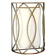 Troy Lighting Sausalito 2-Light Wall Sconce - Silver Gold Finish with Hardback Linen Shade by Troy