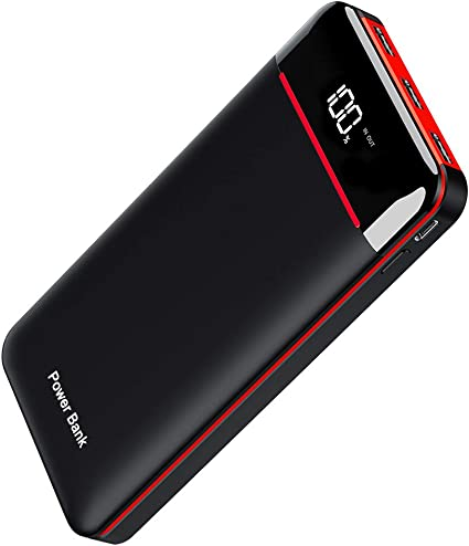 Power Bank 25000mAh Portable Charger High Capacity with LCD Digital Display,3 USB Output & Dual Input External Battery Pack Compatible Smart