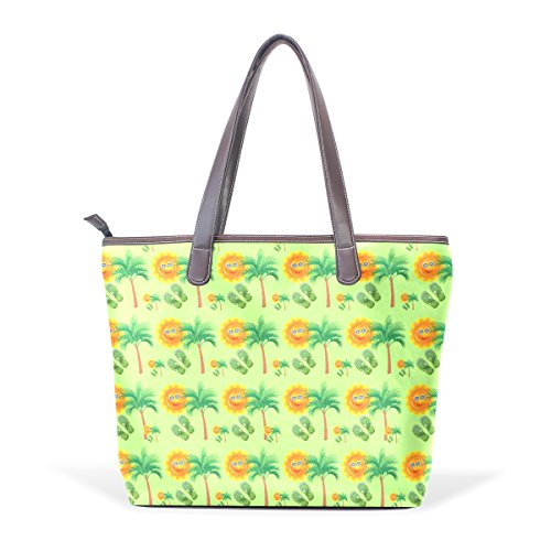 Coosun Bag Handle Large Tote Bag For Tropical Woman Smiling Face Pu Leather M (40x29x9) Cm Muticolour