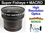 Digital 0.16x HD ULTRA-WIDE Panoramic Fisheye Macro Lens For the JVC Everio GZ-HD320, HD300, HM200, MS130, MS120, MS100, MG255, MG155, MG130 High Definition Camcorders. BONUS Included: Mini Tripod, Cleaning Kit, LCD Camera Screen Protector