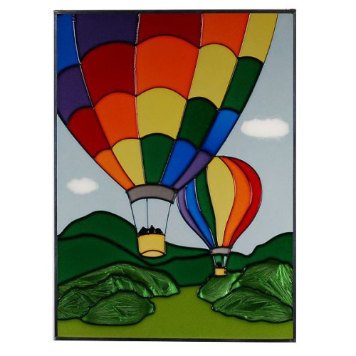 Hot Air Balloons Vertical Art Glass Panel Wall Hanging Suncatcher