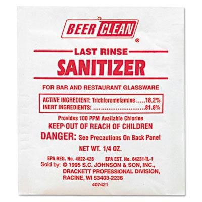 Diversey - Beer Clean Last Rinse Glass Sanitizer Powder .25Oz Packet 100/Carton ''Product Category: Breakroom And Janitorial/Cleaning Products''