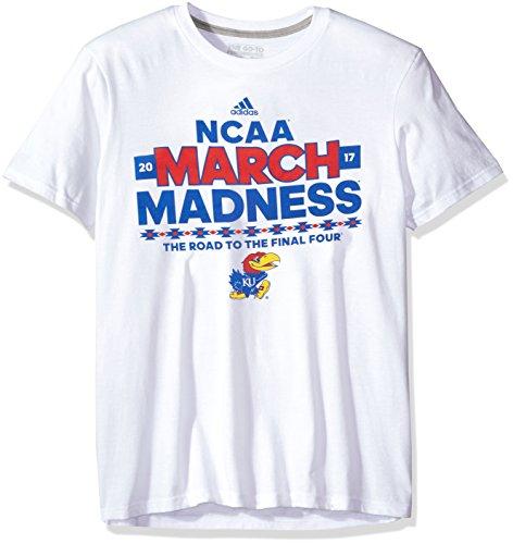 NCAA Kansas Jayhawks Adult Men March Madness 68er S/Performance Tee,Large,White