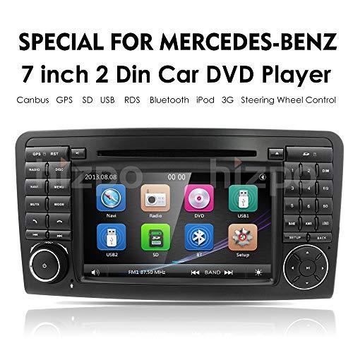 hizpo Car GPS Navigation in Dash Double 2 Din Radio Mercedes Benz ML Class W164 2005-2012 & ML300 & ML350 & ML450 & ML500 DVD Player GPS Navigation 7