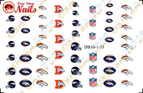 Denver Broncos Waterslide Nail Decals (Tattoos) V1 (Set of 55) -