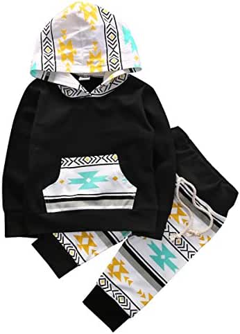 Baby Boys Arrow Geometric Pattern Long Sleeve Hoodie T-shirt Top and Long Pants Outfit Set