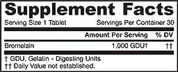 Jarrow Formulas Bromelain, For Joint Nutrition and Probiotics/ Digestive Health, 1000 gdu, 30 Tablets (Pack of 3)