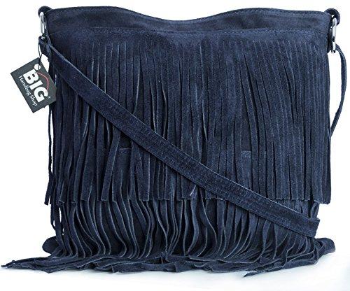 LiaTalia Womens Suede Leather Tassle Fringe Shoulder Bag (Large Size) - Ashley [Navy]