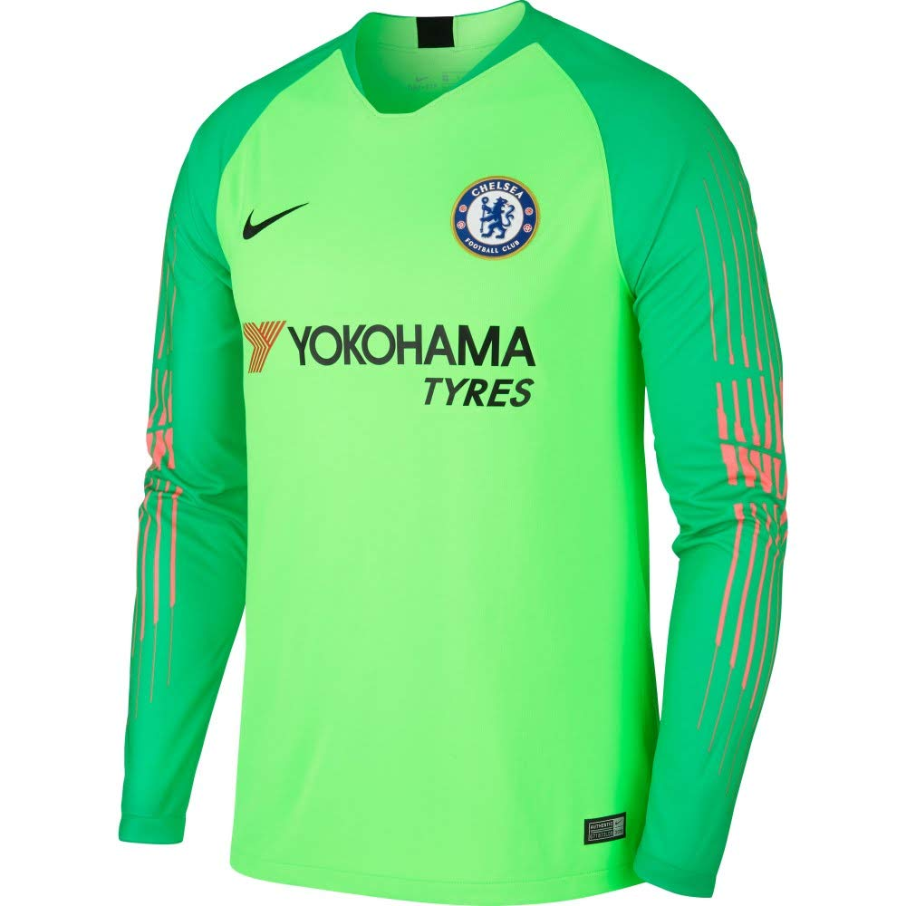7259278d8f2 Amazon.com : Nike 2018-2019 Chelsea Home Goalkeeper Football Soccer T-Shirt  Jersey (Green) : Clothing