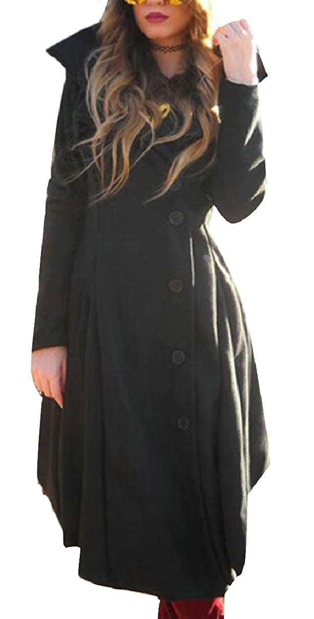 Black LEISHOP Womens Irregular Hem Autumn SingleBreasted Hooded Wool Coat Overcoat
