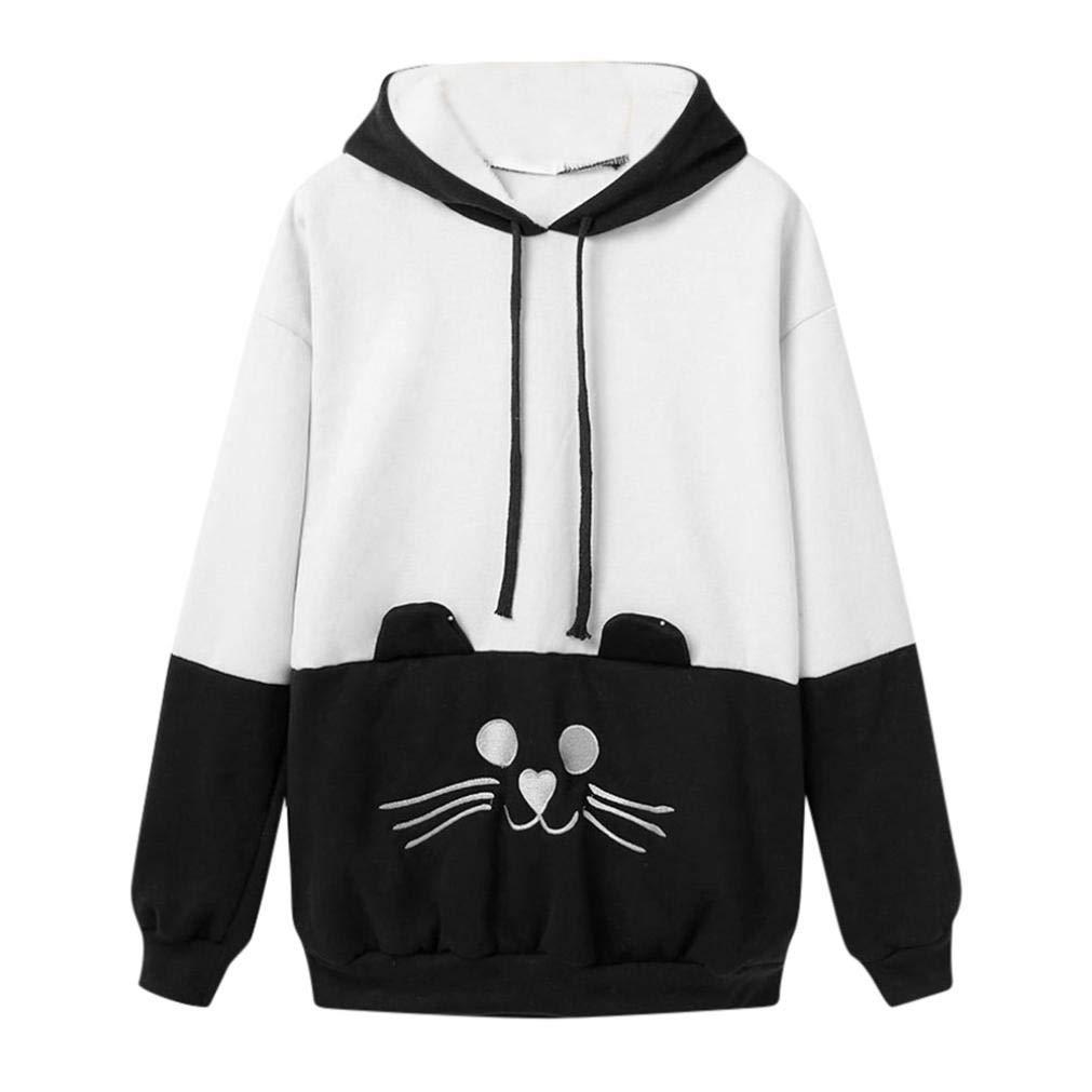 Spbamboo Women Autumn Cat Embroidery Long Sleeve Sweatshirt Pullover Tops Blouse