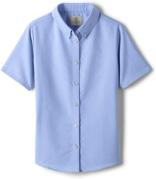 New Girls Land/'s End Uniform Shirts with Buttons /& Ruffled Neckline