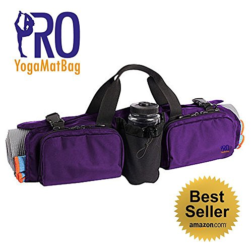 PRO YogaMatBag Stain and Water Resistant Large Pockets Yoga Mat Bag - Black