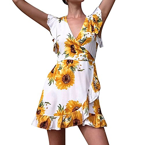 Sunhusing Women's Off Shoulder Short Sleeve Sunflower Print Dress Ladies Summer Casual Mini Dress Yellow