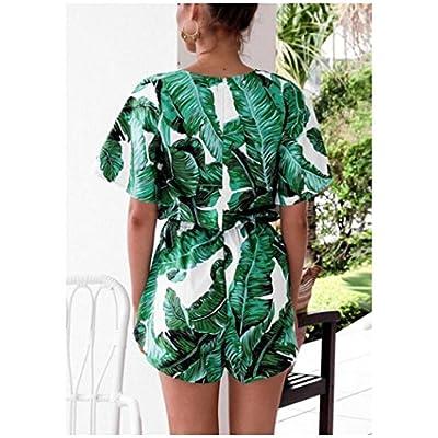 Odosalii Women's V Neck Floral Leaves Jumpsuit Tassel Elastic Waist Playsuit Loose Short Romper: Clothing