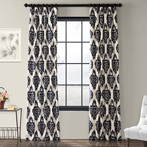 (Half Price Drapes PRTW-D24A-108 Printed Cotton Curtain, Ikat Blue)