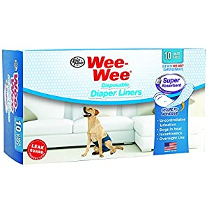"Wee-Wee Products Disposable Dog Diaper Super Absorbent Liners (10 Pack), 2.75"" x 8.25"" x 4.5"""