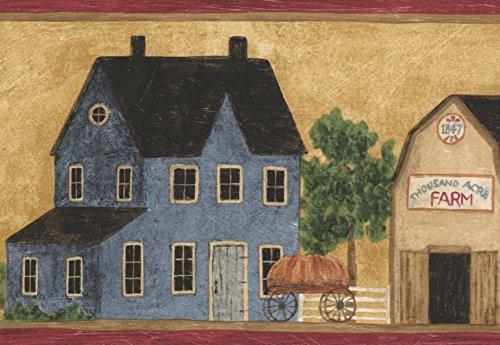 Vintage Red Blue Beige Farm Houses Wallpaper Border Retro Design, Roll 15' x ()