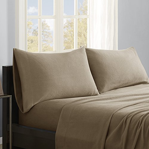 True North by Sleep Philosophy Micro Fleece Sheet Set, California King, Brown - Alternatives California King Sheet Set