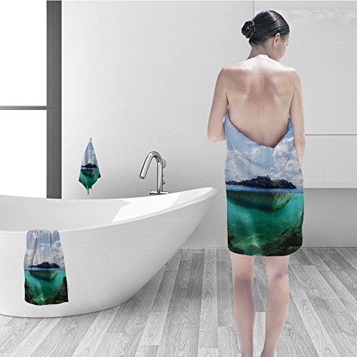 Price comparison product image Nalahomeqq Bath towel set Ocean Island Decor Floating Rock and Lighthouse in Crystal Clear Atlantic Water Mist Nature Photo Bathroom Accessories Blue Grey White