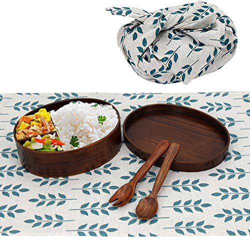 Wooden Spoon Fork Bento Boxes Kit For Adults Kids, - To-go Food Lunchbox Natural Wood Container - leakproof Lunch Box Set Rope For Travel - Reusable Japanese Traditional Box Storage Snack, Sushi, Soup