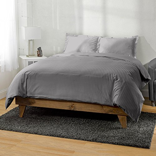Satin Striped Button - ExceptionalSheets 400 Thread Count Long Staple Cotton Striped 3pc Duvet Cover by eLuxurySupply, Breathable & Comfortable, King/Cal-King, Grey