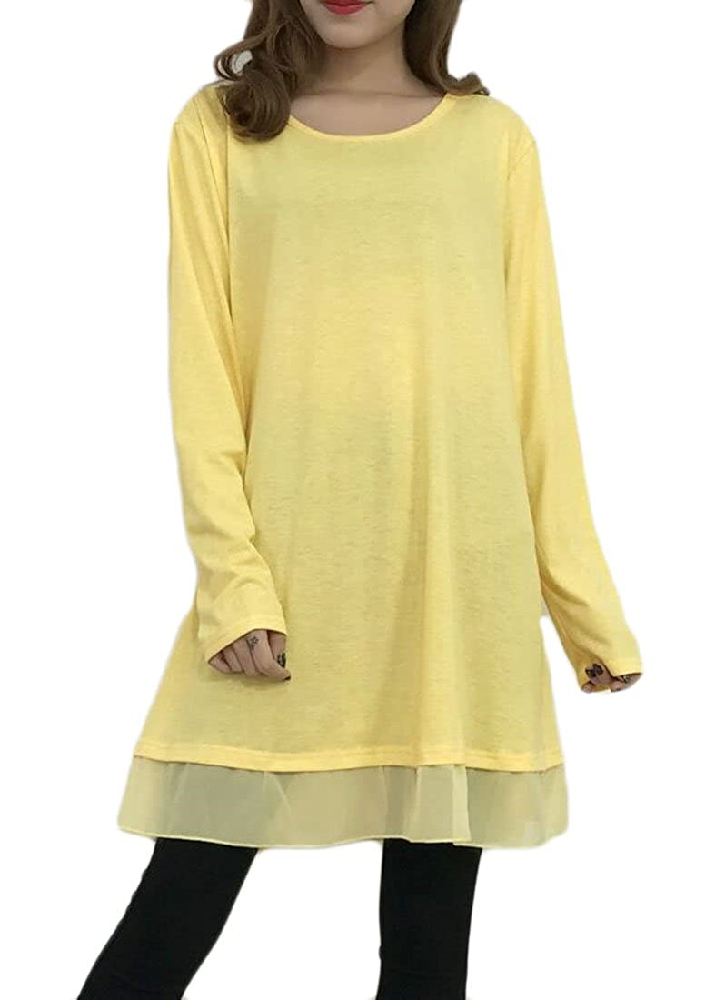 Spirio Womens Solid Color Round Neck Flowy Flared Tunic Blouse Tops T-Shirt