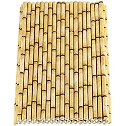 Maxdot 150 Pack Biodegradable Bamboo Print Paper Drinking Straws for Drinks, Juices, Smoothies, Shakes, Party Supplies