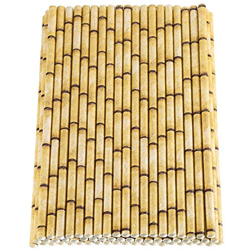Maxdot 150 Pack Biodegradable Bamboo Print Paper Drinking Straws for Drinks, Juices, Smoothies, Shakes, Party Supplies]()