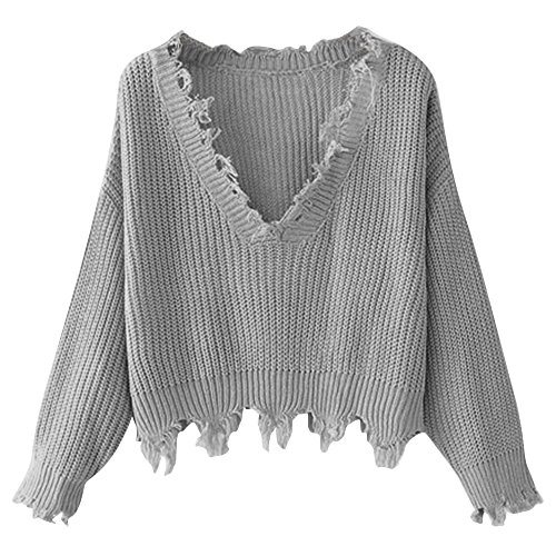 ZAFUL Women's Loose Long Sleeve V-Neck Ripped Pullover Knit Sweater Crop Top (Grey)